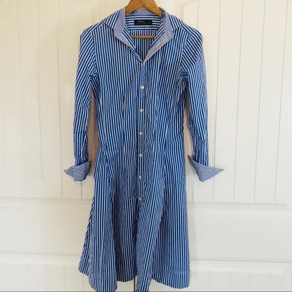 Ralph Striped Lauren Bengal Shirt Dress Polo CQhsrdt